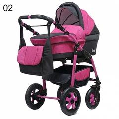 Детская коляска FENIX PCOF (3 в 1) (BartPlast) розовый/серый 02