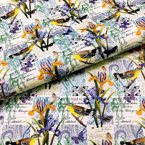 Бумага подарочная декоративная Птицы и ирисы