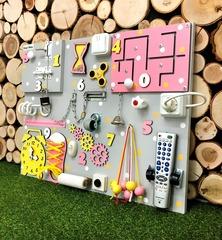 Бизиборд стандарт 50х65 см с ТВ-пультом Розово-Желтый для девочки