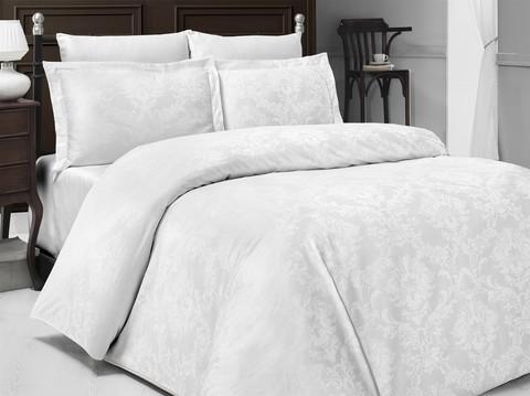 Комплект постельного белья DO&CO Сатин  жаккард  RACHEL 2 спальный Евро цвет белый