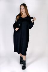 Черное трикотажное платье миди купить