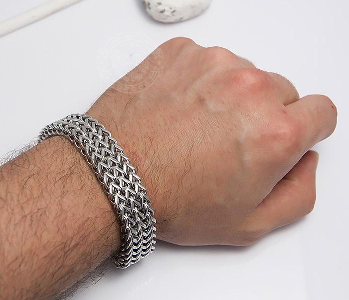 BM468-1 Оригинальный мужской браслет из стали на застежке (22 см) фото 07