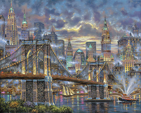 Алмазная Мозаика 40x50 Огни мегаполиса