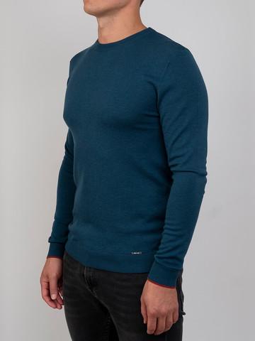 Мужской джемпер темно-зеленого цвета из шерсти и шелка - фото 1
