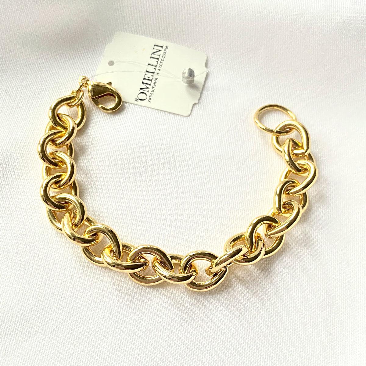 Браслет-цепь с каплевидными звеньями золотой