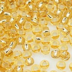 17020 Бисер 8/0 Preciosa прозрачный золотой с серебряным центром