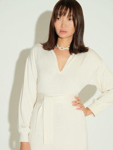 Женское платье молочного цвета из шелка и кашемира - фото 5