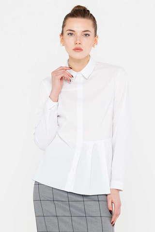 Фото белая асимметричная блузка со складками на поясе слева - Блуза Г687-736 (1)