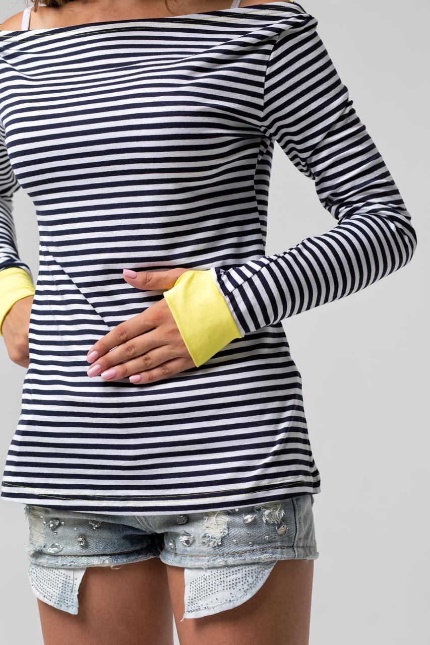 тельняшка женская с желтыми манжетами