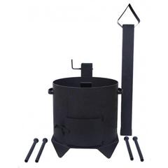 Печь с дымоходом для казана 8л усиленная