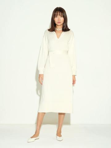 Женское платье молочного цвета из шелка и кашемира - фото 2