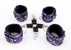 Пурпурный кружевной бондажный комплект