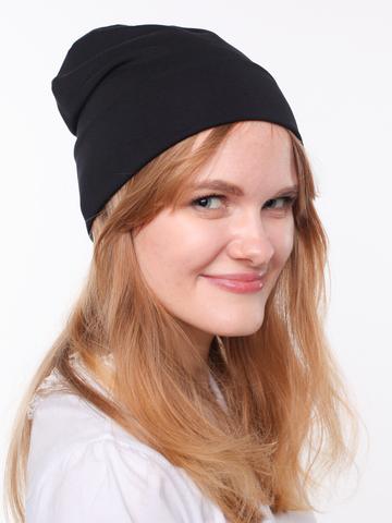 Черная вискозная шапочка бини