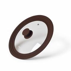 9964 FISSMAN Крышка TRIPLEX 24/26/28см Многоразмерная, цвет Темно-коричневый (стекло)