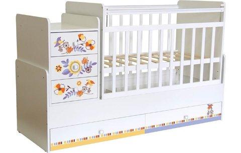Кроватка детская ФЕЯ 1100 Прогулка, белый