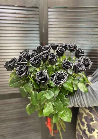 Букет из 25 черных роз #19177