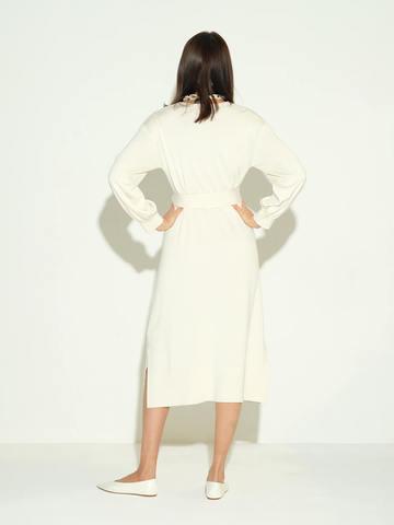 Женское платье молочного цвета из шелка и кашемира - фото 3