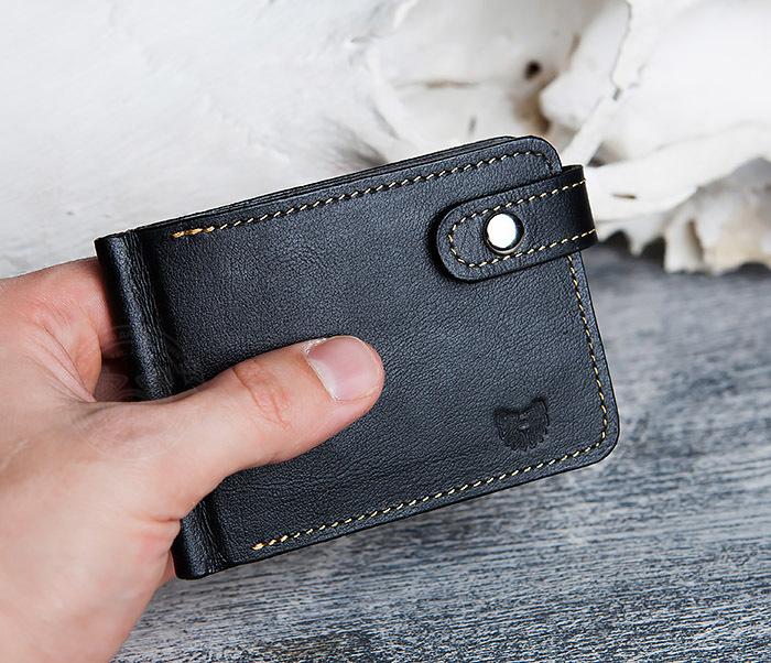 WB115-1 Кошелек из гладкой кожи на застежке с зажимом для денег. «Boroda Design» фото 12