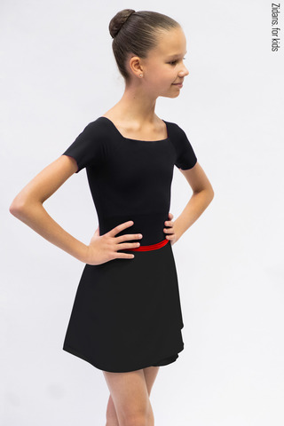 Kids set: T-leotard black + skirt