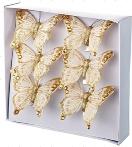Набор бабочек с глиттером на прищепках 6шт., 6см, золотой