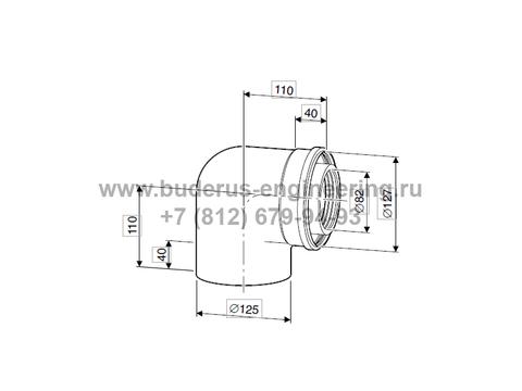 Колено угловое коаксиальное 87гр DN80/125 для котла Buderus Logamax Plus GB172i