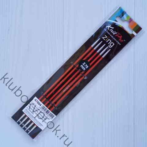 Спицы чулочные Knit Pro Zing алюминий  15 см, № 2,75