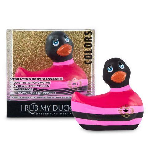 Вибратор-уточка I Rub My Duckie 2.0 Colors с черно-розовыми полосками