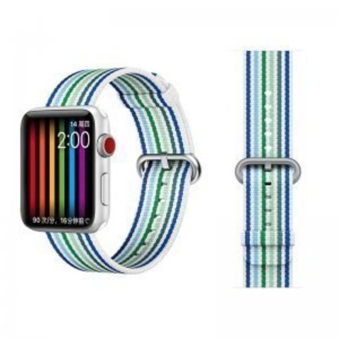 Ремешок COTEetCI W30 Nylon Rainbow Band (WH5251-WB-42) для Apple Watch 44мм/ 42мм Бело-Синий