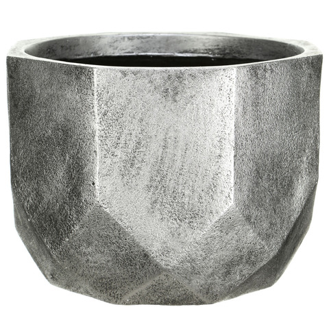 DROUND37-SLV Кашпо Геометри Круглое, файберстоун, серебро, D37 H27 cm