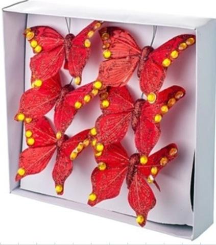 Набор бабочек с глиттером на прищепках 6шт., 6см, красный