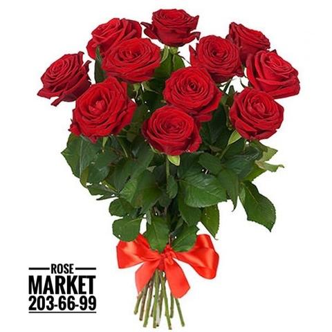 11 красных роз ред наоми 70 см  #18785