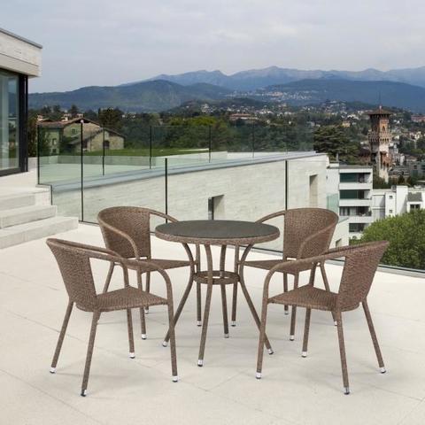 Обеденный комплект плетеной мебели из искусственного ротанга T282ANT/Y137C-W56 Light Brown 4Pcs