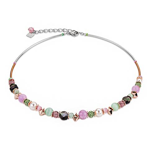 Колье Coeur de Lion 4864/10-0519 цвет зелёный, розовый, бежевый