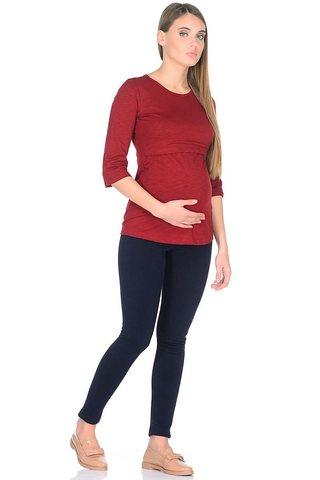 Лонгслив для беременных и кормящих 09907 бордовый
