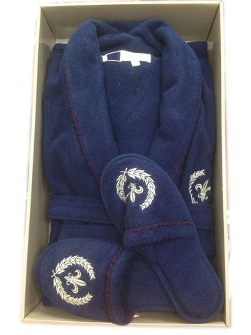 Комплект мужской махровый халат с тапками Seymour Maison Dor синий