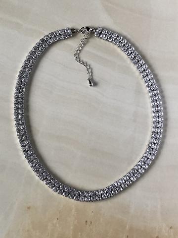 Колье Фаира с двумя рядами цирконов, серебряный цвет