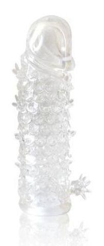 Закрытая прозрачная рельефная насадка Crystal sleeve - 13 см.