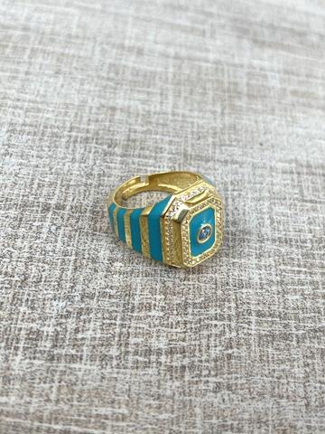 Кольцо Ситрисия, позолота с голубыми полосками