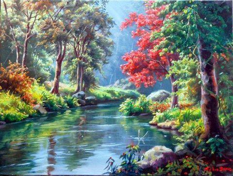 Картина раскраска по номерам 30x40 Тихая речка в лесу