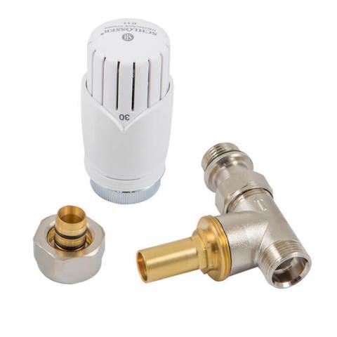 Ограничитель температуры RTL, форма прямая. Головка RTL Diamant, клапан белый Для пластика GZ 1/2 х 16х2