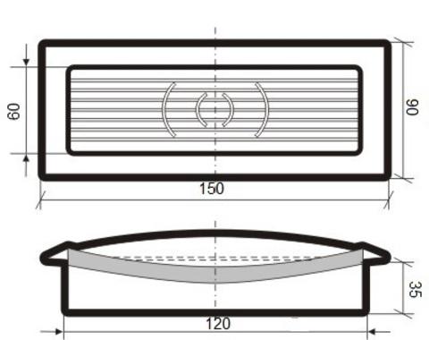 Решетка приточно-вытяжная с фланцем 120х60