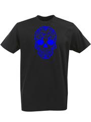 Футболка с однотонным принтом Череп (Скелет) черная 00133