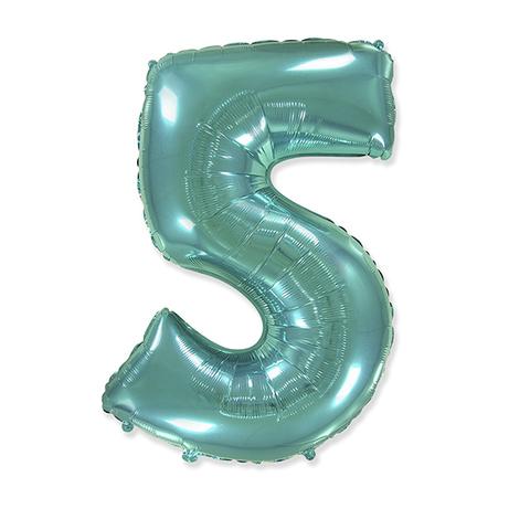 Фольгированная цифра 5, тиффани