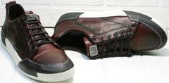 Мужские кеды кожа. Кроссовки для ходьбы по асфальту Luciano Bellini C6401 MC Bordo.