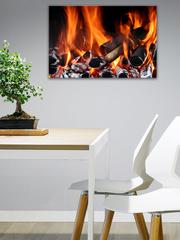 Картина на стекле/ Картина на стену/ Интерьерная/ Тепло у камина, 60х40см