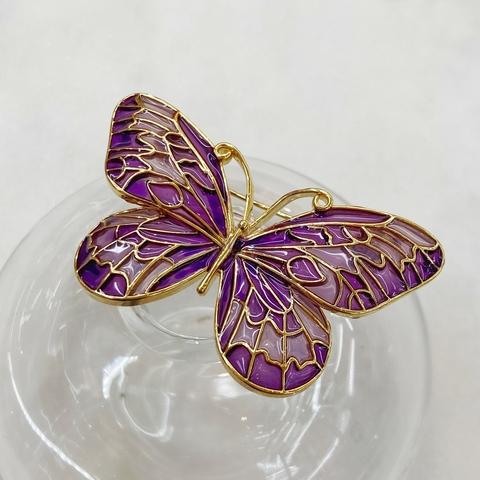 Брошь Бабочка Прозрачные Крылья фиолетовый