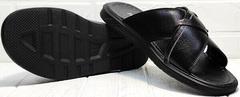 Кожаные шлепки мужские сандалии на плоской подошве Brionis 155LB-7286 Leather Black.