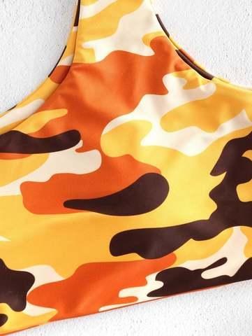 купальник раздельный желтый на одно плечо хаки бразильяно 4
