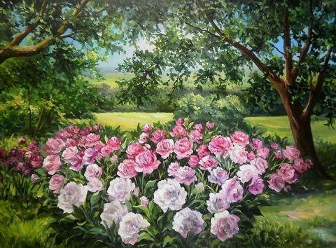 Картина раскраска по номерам 30x40 Розовые розы на поле