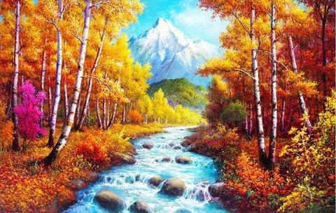 Алмазная Мозаика + Багет 40x50 Горная речка
